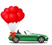 Green opened cartoon cabriolet car with heart balloons. Green modern opened cartoon cabriolet car with bunch of red helium heart shaped balloons with festive Royalty Free Stock Photos