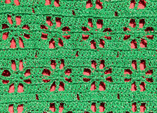 Green openwork handmade knitted pattern Stock Photo