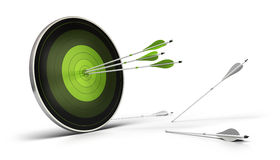 Green opportunities - target and arrow. Green target onto a white background with three arrows reaching their goal, and whites arrows on the floor failed to stock illustration