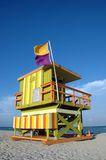 Green and Orange Art Deco Lifeguard Tower Royalty Free Stock Image