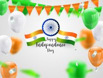 Green Orange balloons, confetti concept design Independence Day India Graphics. greeting background. Celebration Vector illustrat. Ion vector illustration