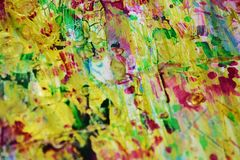 Green orange beige blurred playful pastel forms, abstract pastel hues. Orange gold violet beige green blue golden blurred playful forms and paint spots in pastel stock photos