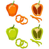 Green and orange bell pepper. Whole and slice isolated on white background. stock illustration