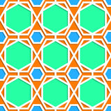 Green, orange and blue geometric pattern. Green, orange and blue geometric 3d pattern design royalty free illustration