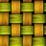 Wooden seamless pattern resembling basket. Green, orange and brown braided wooden texture with wavy pattern. 3d rendering Stock Photos