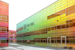 Green and orange. Building in Almere, Netherlands Stock Photography