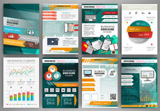 Green and orange business brochure template with infographic Royalty Free Stock Photos