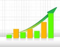 Green and orange business graph with grid Stock Image