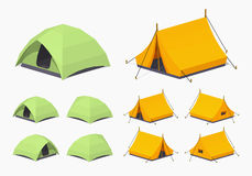 Green and orange camping tents Stock Photography