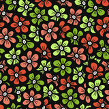 Green and orange doodle flower pattern. Seamless cute blossom background. Spring wallpaper. Royalty Free Stock Images