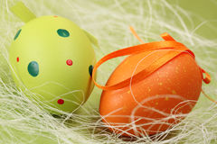 Green and orange Easter egg Royalty Free Stock Images