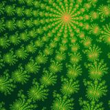 Green and orange fractal ornaments in dark green background. Computer generated graphics. Royalty Free Stock Images