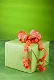 Green & orange gift box Stock Photo