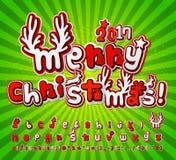 Green-orange high detail comic font. Alphabet pop art style Stock Image