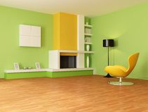 Green and orange living room Stock Photos