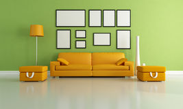 Green and orange living room Stock Photo
