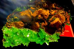 green and orange minerals Stock Photo