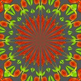 Green and orange pattern. Green and orange in a circle on a grey background Royalty Free Stock Photography