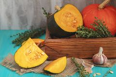 Green and orange Pumpkin and ingredients for tasty vegetarian co stock image