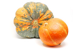 Green and orange pumpkins Royalty Free Stock Images