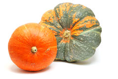 Green and orange pumpkins Royalty Free Stock Photo