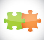 green and orange puzzle pieces Stock Photography