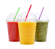 Green, orange and red smoothie Stock Photo