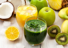 Green and orange smoothies. From various fruit Stock Photo
