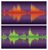 Green and orange sound waves on purple Stock Photos