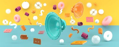 Green and orange speakers float in the middle of the ball and tape. royalty free illustration