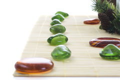 Green and orange stones for spa Stock Photography