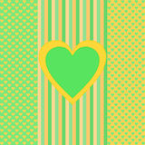 Green orange stripes and small hearts, a big heart in the middle Royalty Free Stock Photos
