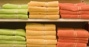 Green and Orange Towels Stock Images