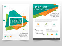 Green orange triangle geometric Leaflet Brochure Flyer annual report template design, book cover layout design. Abstract business presentation template, a4 Stock Illustration