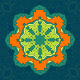 Green and Orange Vector Mandala. Decor for your design, lace ornament, round pattern with lots of details. Oriental Stock Image