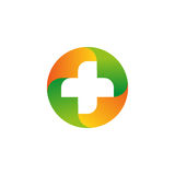 Green and orange vector medical cross logo. Round shape logotype.   Stock Image