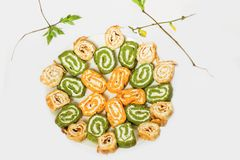 Green and orange vegetable roll Royalty Free Stock Photo