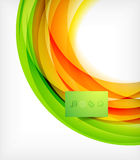 Green and orange wave abstract background. With plate Stock Photo