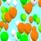Green orange white air party balloons on sky Royalty Free Stock Photography