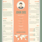 Green orange white striped resume design Stock Images