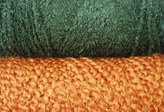 Green and orange yarn background Stock Photo