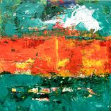 Green, Orange, and Yellow Abstract Painting Royalty Free Stock Photos