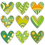 Green, orange and yellow heart collection Royalty Free Stock Photos