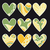 Green, orange and yellow heart collection Royalty Free Stock Photography