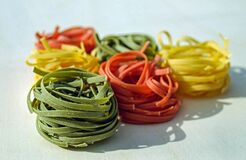 Green Orange and Yellow Pasta Stock Image