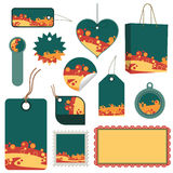 Green, orange and yellow tag set Royalty Free Stock Photography