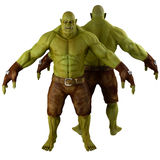 Green Orc Isolated on White 3D Illustration Stock Image