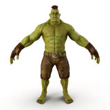 Green Orc  on White 3D Illustration Royalty Free Stock Photos