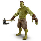 Green Orc  on White 3D Illustration Stock Image