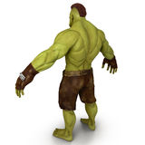 Green Orc  on White 3D Illustration Stock Photography